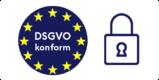 Siegel mit Flagge der EU und DSGVO-konform Schriftzug sowie Sicherheitsschloss